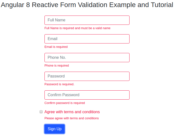 Angular 8 Reactive Form Validation Example and Tutorial | JSON World