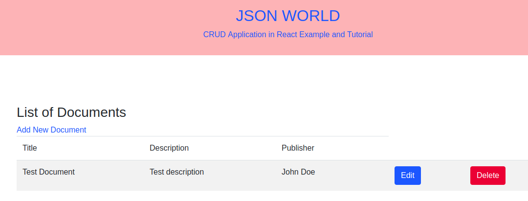 CRUD Application in React Example and Tutorial | JSON World
